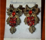 Vintage Owl Earrings Studded With Ministones